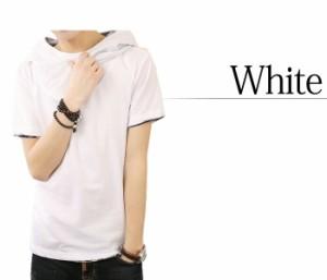 BUZZ WEAR [バズ ウェア] Tシャツ メンズ パーカー 半袖 無地 アフガンネック トップス コーデ グレー 黒 白 春 夏 秋