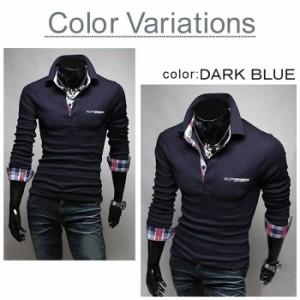 BUZZ WEAR [バズ ウェア] ポロシャツ メンズ Tシャツ カットソー 長袖 ロンT チェック ゴルフウェア トップス カジュアル コーデ 青