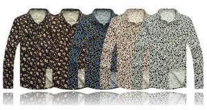 送料無料 サイズ・カラー選べる 3枚セット コーデュロイシャツ メンズ シャツ カジュアル 長袖 トップス 花柄 お兄系 hit_d