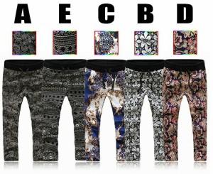 送料無料 サイズ・カラー選べる 3枚セット パンツ メンズ レギンス 七分丈 柄 ぴったり スリム ウエストゴム カジュアル hit_d