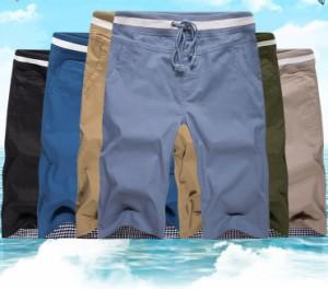 送料無料 サイズ・カラー選べる 2枚セット ハーフパンツ メンズ 半ズボン 無地 ウエストゴム スリム 細身 カジュアル キレイめ hit_d