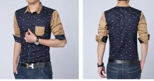 送料無料 大きいサイズ カジュアルシャツ メンズ シャツ ロールアップ 総柄 切り替え 胸ポケット ワイシャツ カッターシャツ hit_d