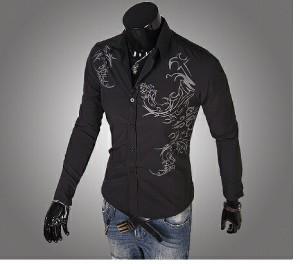 送料無料 サイズ・カラー選べる 2枚セット カジュアルシャツ メンズ 長袖 プリント スリム 細身 キレイめ ワイシャツ hit_d