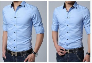 送料無料 サイズ・カラー選べる 3枚セット 大きいサイズ カジュアルシャツ メンズ 長袖 無地 シンプル ワイシャツ スリム 細身 hit_d