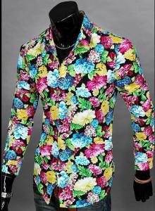 送料無料 カジュアルシャツ メンズ 長袖 プリント 花柄 フラワー ボタニカル 華やか きれいめ 細見 カジュアル トップス hit_d