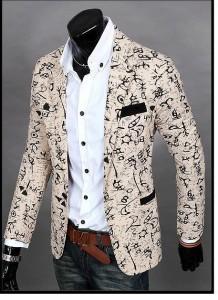 3000円以上送料無料 ジャケット メンズ 長袖 テーラード ワンボタン プリント 総柄 象形文字風 細身 きれいめ カジュアル 服 アウター