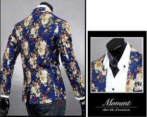 3000円以上送料無料 サイズ・カラー選べる 2枚セット ジャケット メンズ 長袖 テーラード ワンボタン プリント 総柄 花柄 フラワー