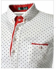 3000円以上送料無料 カットソー メンズ 長袖 ポロシャツ風 スキッパー プリント ドット 水玉柄 細身 きれいめ カジュアル スポーティー