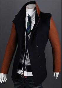 送料無料 ジャケット メンズ 長袖 ダブル スタンドカラー テーラード 着こなし ブロックカラー バイカラー 細身 きれいめ hit_d