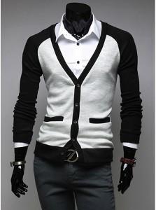 カーディガン メンズ 長袖 Vネック 無地 バイカラー ブロックカラー ラグラン袖 細身 羽織 きれいめ カジュアル 3000円以上送料無料