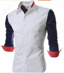 送料無料 カジュアルシャツ メンズ 長袖 無地 バイカラー 細身 きれいめ カジュアル ブロックカラー 切替 ロールアップ 着回し hit_d