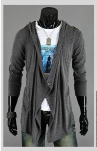 カーディガン メンズ 長袖 フード付き 無地 パーカー 薄手 羽織 カジュアル お兄系 3000円以上送料無料