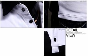 3000円以上送料無料 カットソー メンズ 長袖 ポロシャツ 白黒 バイカラー お兄系 メンズファッション コーディネート hit_d