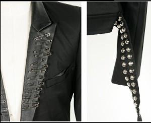 サイズ・カラー選べる 2枚セット テーラードジャケット メンズ アウター ジャケット シングル 無地 ロック 3000円以上送料無料