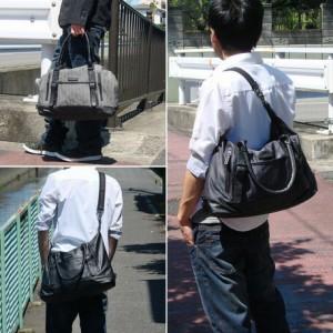 ショルダーバッグ メンズ レディース バッグ PU切替 ショルダーベルト付き 3WAY ボストンバッグ 男女兼用 3000円以上送料無料