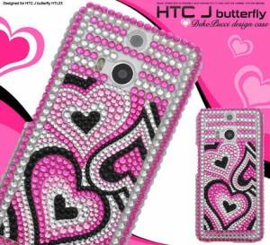 スマートフォンケース メンズ 小物 スマホケース HTC J butterfly HTL23(バタフライ)用 デコハートケース 3000円以上送料無料