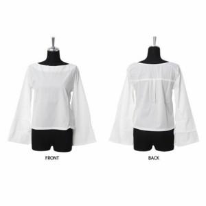 Tシャツ レディース トップス スリット フレアスリーブ ボートネック 長袖 ロンT レディースファッション 3000円以上送料無料