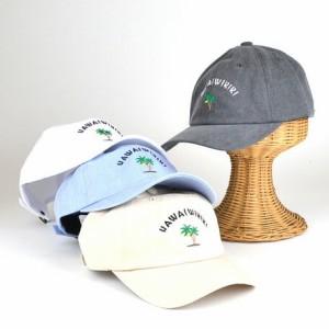 キャップ メンズ 小物 HAWAI WIKIKI 刺繍 ウォッシュ ローキャップ ヤング 帽子 男性用 3000円以上送料無料