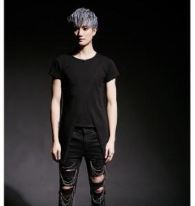 Tシャツ メンズ トップス 半袖 変型前身頃 クルーネック 丈長め 無地 シンプル キレイめ カジュアル 3000円以上送料無料