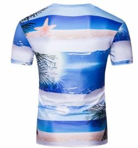 Tシャツ メンズ トップス シャツ 半袖 プリント グラフィックT 海 ビーチ 砂浜 クルーネック シンプル カジュアル 3000円以上送料無料