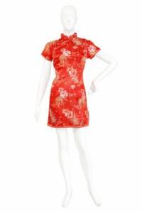 チャイナ服 レディース コスプレ ミニ チャイナドレス 花 赤 レディースファッション パーティ イベント 衣装 3000円以上送料無料
