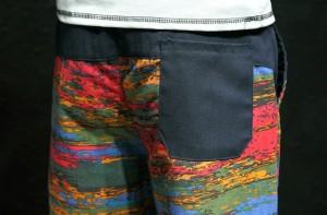 3000円以上送料無料 ショートパンツ メンズ ボトムス パンツ カラー切り替え ウエストリブ 腰紐 膝上 カジュアル 尻ポケット メンズファ