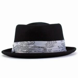 ハット 秋冬 フェルトハット ダイヤモンドヘッド 帽子 メンズ ヘンシェル ペイズリー柄 ブラック