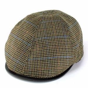 """""""ハンチング帽 メンズ ハンチング ミラショーン 帽子 六枚接ぎのチェック柄ハンチング オリーブ"""""""