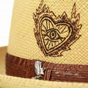 パナマハット カルロス・サンタナ 帽子 メンズ 中折れハット 焼印 春夏ファッション Sacred Fire Putty ブラウン 茶送料無料