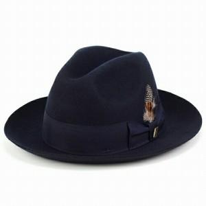 ハット 帽子/メンズ フェルト ハット/中折れ帽 お洒落/stacy adams ステイシーアダムス/紺 ネイビー
