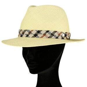 帽子 メンズ パナマ ダックス daks hat ハウスチェック 40周年 高級 紳士 レマン型 中折れ帽 ナチュラル