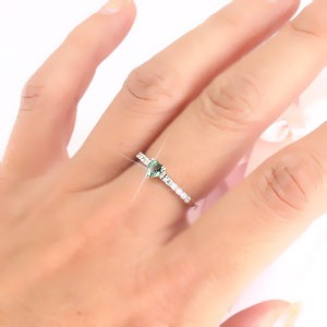 【送料無料】グリーンクオーツ ダイヤモンドリング 0.10ct プラチナ900(PT900) 一粒 ハート 小指 ピンキーリング ミディリング ファラ