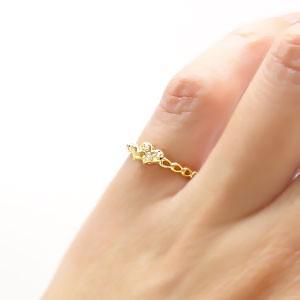 【送料無料】ダイヤモンドハートリング 0.02ct K18ゴールド 18金 小指 ピンキーリング ミディリング ファランジリング 指輪 レディース