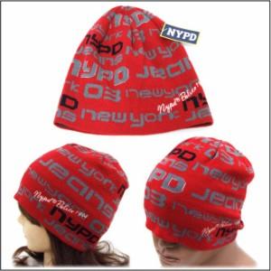 【P20倍】帽子 ニット帽 NYPDデジタルデザイン ロゴニットワッチ 全2色 knit-1306