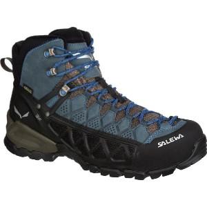 (取寄)サレワ メンズ アルプ フロー ミッド GTX ハイキング ブーツ Salewa Men's Alp Flow Mid GTX Hiking Boot Black Olive/Royal Blue