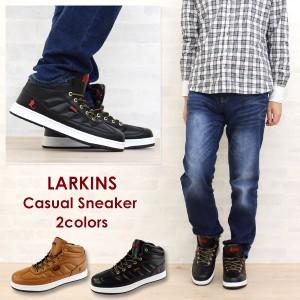 送料無料 スニーカー ハイカット メンズ 靴 LARKINS L-6070B ラーキンス