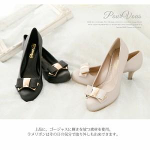 パンプス リボン ラメ フォーマル ハイヒール パーティ ゴールド レディースファッション 靴 s193135新作 20代30代40代50代