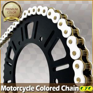 CYCバイクチェーン 520-120L ホワイト&ゴールドチェーン KDX200SR ZZ-R250 EX-4 250TR FX400R バリオス GPX400R バリオス-2 GPZ400
