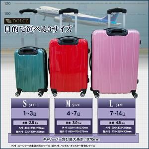 スーツケース キャリーケース キャリーバッグ Mサイズ 中型 鏡面 ファスナータイプ 全7色 4〜7日