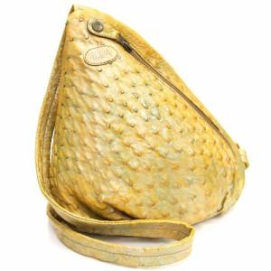 イビザ ショルダーバッグ イエロー オーストリッチ 中古 黄色 斜めがけ 三角 ショルダー ボディバッグ 特注 IBIZA|ブランドバッグ ブラン