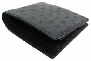 オーストリッチ 財布 二つ折り財布 ブラック 黒 新品 コンパクト ウォレット レザー 革 エキゾチックレザー OSTRICH| ファスナー 女性 サ