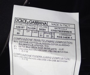 【アパレル】 ドルチェ&ガッバーナ D&G DG ドルガバ メンズ ジャケット コットン90% シルク8% レーヨン2% #50 ブラック 黒 グレー G2915T