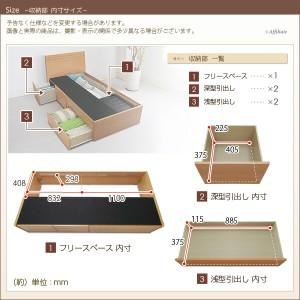 2段引き出し収納ベッド Fネイビス プレシャスフィットポケットコイルマットレス付 セミシングル ナチュラル