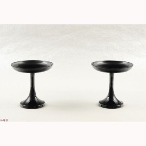 国産仏具【京型(貫通型)高月:一対入 黒 2.5寸】仏壇・仏具 高杯 盛器 供物台
