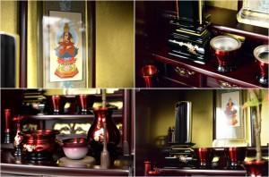 伝統的なダルマ型【胡蝶:16号ミニ仏壇 紫檀調】上置きタイプ・小型仏壇 送料無料