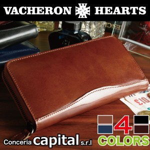 【VACHERON HEARTS】 ヴァセロンハーツ 長財布 キャピタルレザー ラウンドファスナー メンズ 本革 男性 ウォレット VH-1011 Men's さいふ