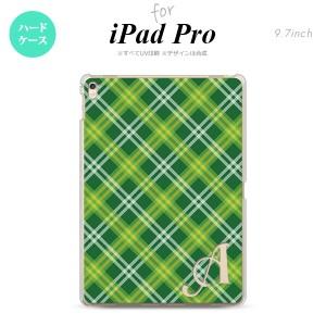 【iPad Pro】【スマホケース/スマホカバー】【アイパッド プロ】iPad Pro スマホケース カバー アイパッド プロ イニシャル チェックA 緑