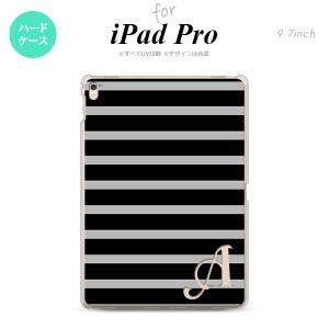 【iPad Pro】【スマホケース/スマホカバー】【アイパッド プロ】iPad Pro スマホケース カバー アイパッド プロ イニシャル ボーダー 黒