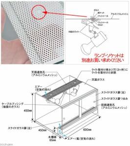 同梱不可・中型便手数料 エーハイム レプタイルケージ RC−6045(60×45×45cm) 爬虫類 飼育 ケージ ガラスケージ