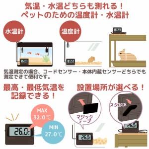 最高最低温度が記録できる デジタル温度計兼水温計 パッケージ無し バックライト付